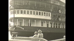 Vintage 16mm film, 1941, lake cruise boat Stock Footage