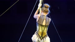 Young Female Acrobat Perform Pole Stunt In Circus Stock Footage