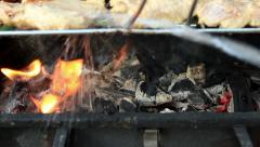 Stock Video Footage of Barbecue in fire and extinguishing a fire with water slow motion