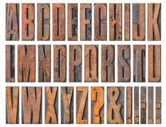 Antique letterpress wood type printing blocks - Alphabet - stock photo