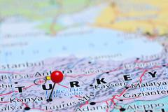 Konya pinned on a map of Asia Stock Photos