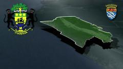 Nyanga - Tchibanga with Coat of arms animation map Stock Footage