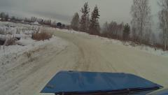 Winter car race out car Stock Footage