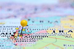 Amman pinned on a map of Asia Stock Photos