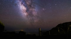 The Milky Way Panning over the Atlantic Ocean Stock Footage