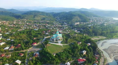 Aerial view of Bagrati cathedral in Kutaisi Stock Footage