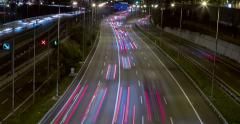 Night scene of traffic and roads.Time Lapse - Long exposure - 4K, (11) Stock Footage