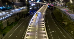 Night scene of traffic and roads.Time Lapse - Long exposure - 4K. (14) - stock footage