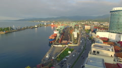 Aerial view of Batumi seaport - stock footage