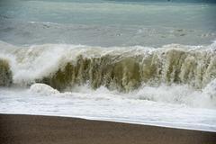 The sea waves Becici Montenegro - stock photo