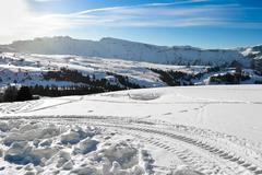 Ski slopes on the Italian Alps. Stock Photos