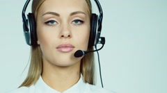 Attractive woman - call center operator Stock Footage