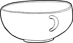 Stock Illustration of Single Empty Teacup Outline