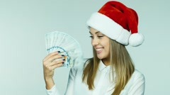 The premium for the new year - Girl throws money - stock footage
