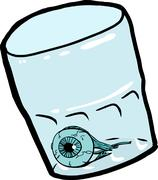 Eyeball Inside Isolated Cup - stock illustration