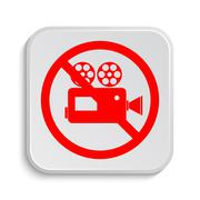 Stock Illustration of Forbidden video camera icon. Internet button on white background..