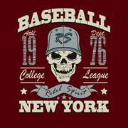 baseball skull t-shirt graphic design - stock illustration