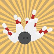 Bowling ball and pins - vector - stock illustration