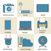 Stock Illustration of Computer technology and multimedia icons