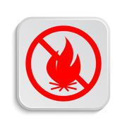 Stock Illustration of Fire forbidden icon. Internet button on white background..