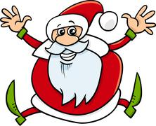 santa claus cartoon illustration - stock illustration