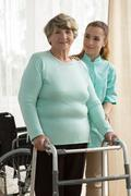 Elder lady in rest home - stock photo