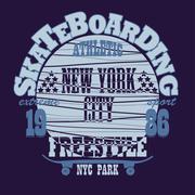 Skateboarding New York t-shirt graphic design - stock illustration
