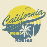 California Typographic t-shirt fashion design - Vector Stock Illustration