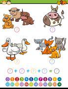 Cartoon math task for children Stock Illustration