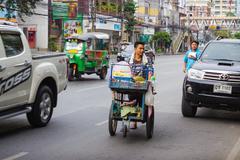 Merchant  fruit  on streets of city Asian - stock photo