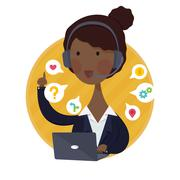 Customer Support Help Desk African American  Woman Operator Service Stock Illustration