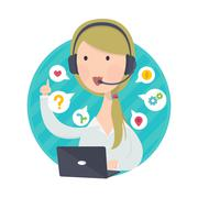 Customer Support Help Desk Woman Blond Hair - stock illustration