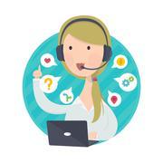 Customer Support Help Desk Woman Blond Hair Stock Illustration