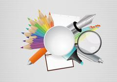 illustration of object school with blank area - stock illustration