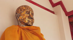 Close Up Buddhist Monk Statue Head Thai Gold Temple Buddhism Religious Worship Stock Footage