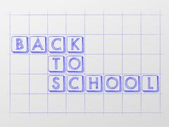 back to school on checkered whiteboard - stock illustration