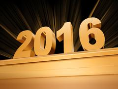 golden new year 2016 on a pedestal - stock illustration