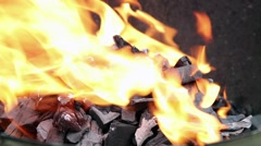 Fire and charcoal Stock Footage