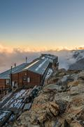 Alpine resort at sunset. Stock Photos