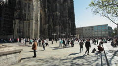 Cologne Cathedral - urban scene - people walking Stock Footage