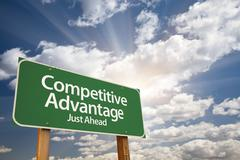 Competitive Advantage Green Road Sign With Dramatic Clouds and Sky. Stock Photos