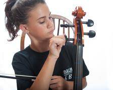 Fine tuning the strings - stock photo