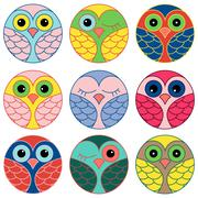 Nine funny owl faces in a circle - stock illustration