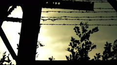 Wired fence with sunset Stock Footage