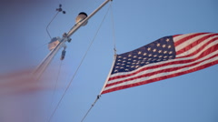 American flag on coast guard boat - tight Stock Footage