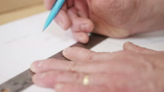4K Close up on hands, furniture maker in workshop, working on furniture designs - stock footage