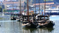 Porto Portugal cityscape and traditional boats Stock Footage