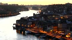 Porto Portugal cityscape at night Stock Footage