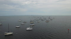 Sail boats in the bay aerial video - stock footage