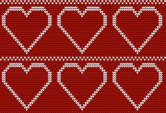 Seamless knitted pattern with big hearts Stock Illustration